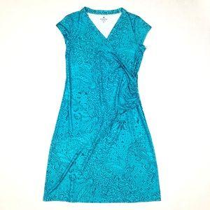 Athleta Women's Printed Nectar Dress Blue Floral